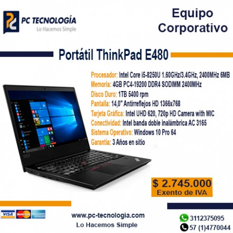 Portátil ThinkPad E480